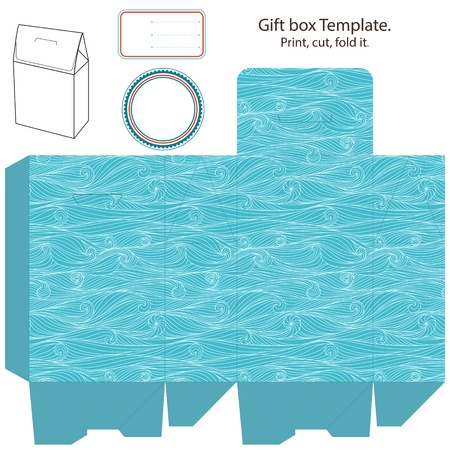 Gift box template. Waves pattern. Empty label.  Vector