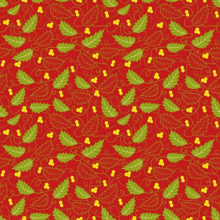 Christmas pattern with holly berry on red background Vector