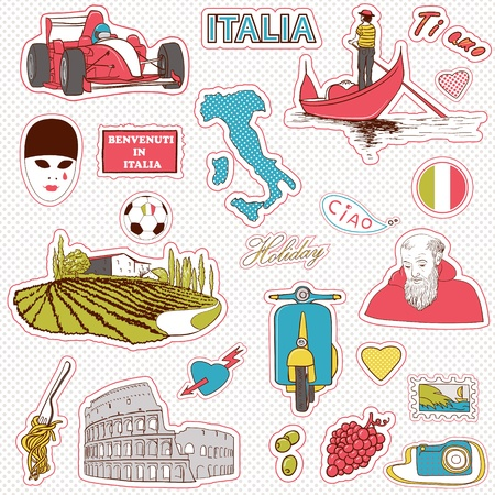 Set of the doodle sketches. Italy travel icons.  Vector