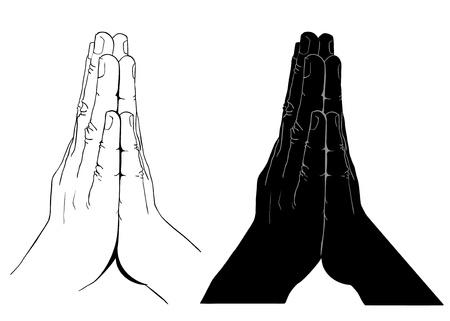 meditation isolated white: Praying Hands, outline illustration, isolated on white background Illustration