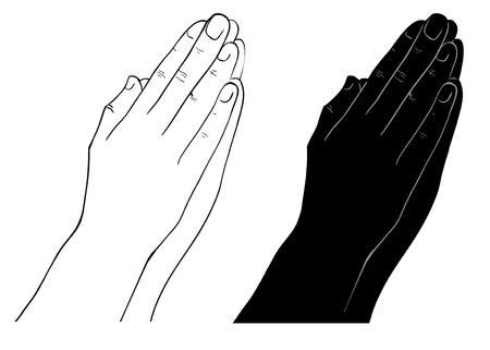 praying hands: Praying Hands, outline illustration, isolated on white background Illustration