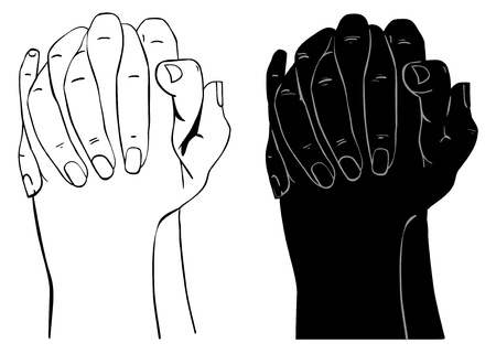 Praying Hands, outline illustration, isolated on white background Vector