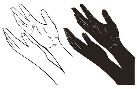black worship: Praying Hands, outline illustration, isolated on white background Illustration