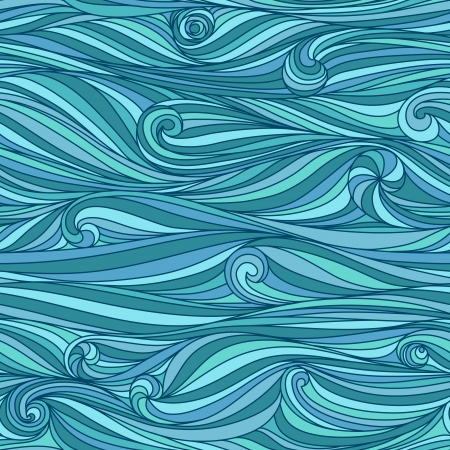 Seamless abstract hand-drawn waves pattern, wavy background Stock Vector - 15560565