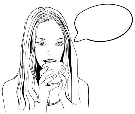 frau nach oben schauen: Junge Frau sucht mit Tasse Kaffee oder Tee Illustration