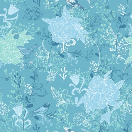 Nature background with birds, flower and plants  Seamless pattern   Vector