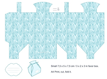 Favor box die cut  Foliage pattern  Empty label   Vector