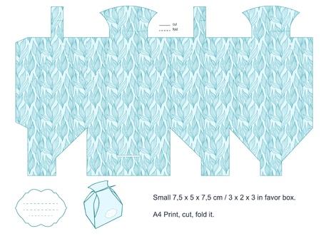 dieline: Favor box die cut  Foliage pattern  Empty label