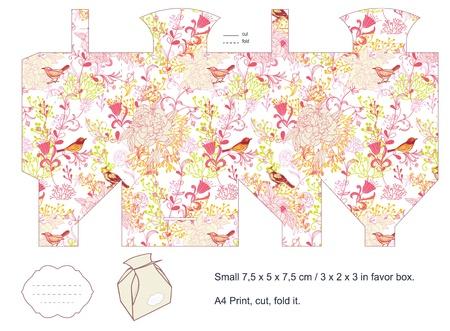 die cut: Favor box die cut  Birds, plants, flowers pattern  Empty label