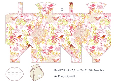 diecut: Favor box die cut  Birds, plants, flowers pattern  Empty label