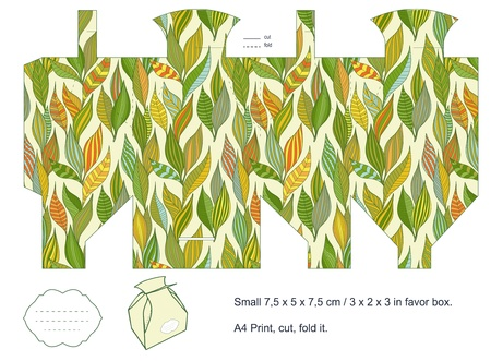 Favor box die cut  Foliage pattern  Empty label Stock Vector - 15651509