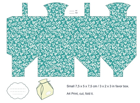 Favor box die cut  Foliage pattern  Empty label Stock Vector - 15651498