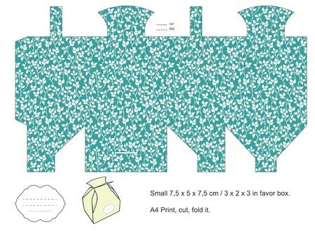Favor box die cut  Foliage pattern  Empty label Stock Vector - 15651498