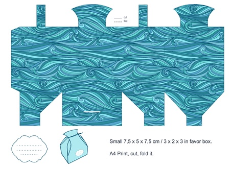 Favor box die cut  Waves pattern  Empty label   Vector