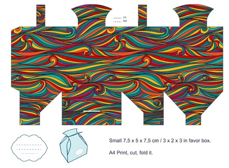 box template: Favor box die cut  Waves pattern  Empty label