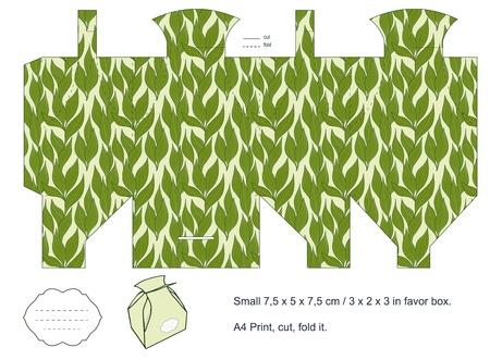 Favor box die cut  Foliage pattern  Empty label   Stock Vector - 15651508