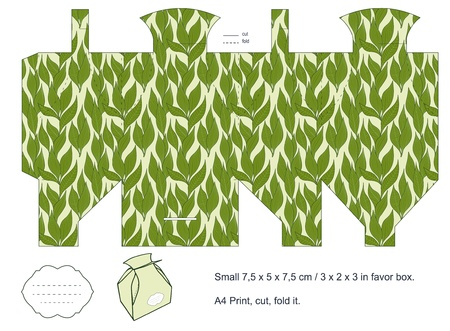 Favor box die cut  Foliage pattern  Empty label Stock Vector - 15651508