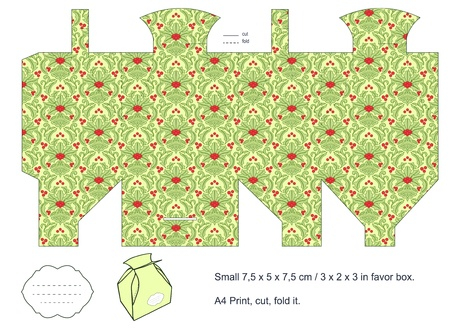 Favor box die cut  Christmas damask pattern  Empty label