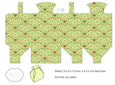 favor: Favor box die cut  Christmas damask pattern  Empty label