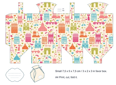 Favor box die cut  Paris architecture pattern  Empty label   Stock Vector - 15651506