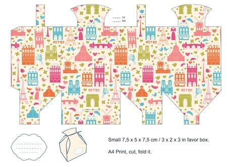 diecut: Favor box die cut  Paris architecture pattern  Empty label   Illustration