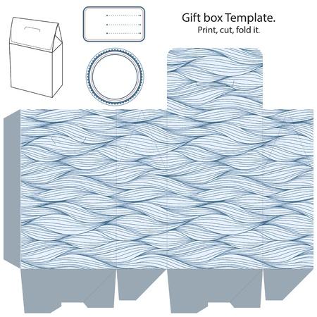dieline: Gift box template  Waves pattern  Empty label