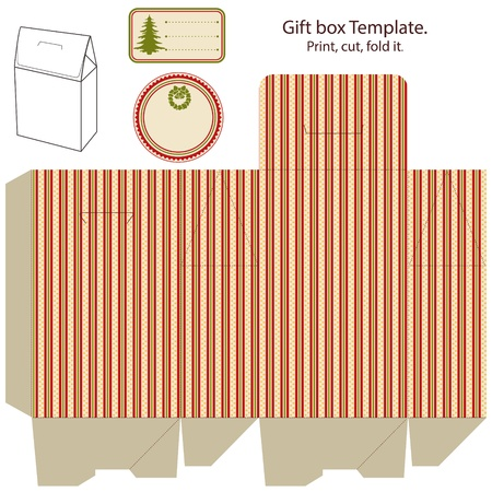 favor: Gift box template isolated on white  Christmas pattern  Empty label