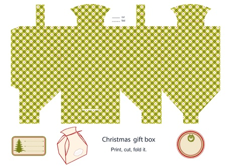 Gift box template isolated on white  Christmas pattern  Empty label   Vector
