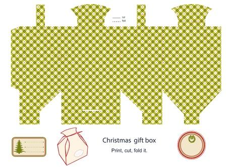 Modèle de boîte-cadeau isolé sur étiquette blanche Christmas pattern vide Vecteurs