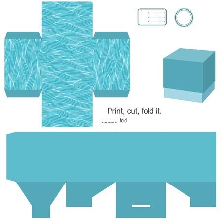 Gift box template Waves Muster leeres Etikett