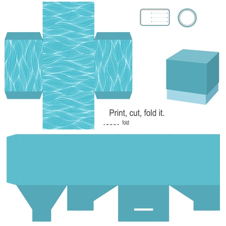 Gift box template Waves patroon leeg etiket Stock Illustratie