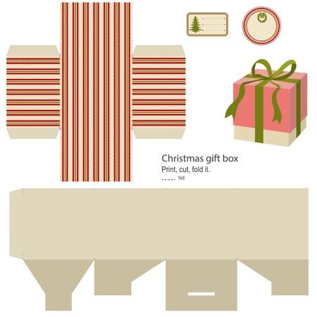 Gift box template auf weiß Christmas pattern leeres Etikett isoliert