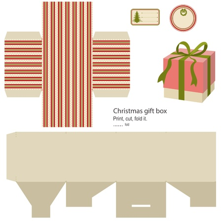 printable: Gift box template isolated on white  Christmas pattern  Empty label