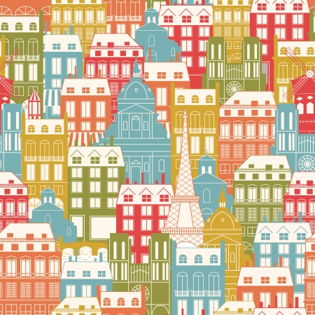 Seamless pattern with city buildings  Paris architecture  Travel background   イラスト・ベクター素材
