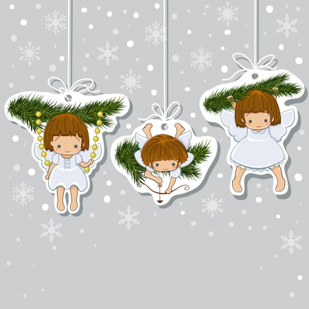 Christmas Card  Set of little angels icons  Vector
