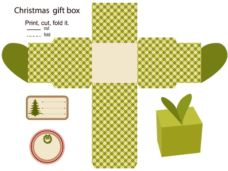 craft product: Gift box Isolated  Christmas pattern  Empty label  Template