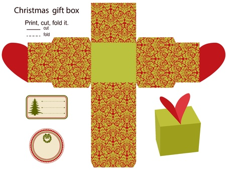 favor: Gift box  Isolated  Christmas pattern  Empty label  Template  Illustration