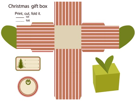 diecut: Gift box Isolated  Christmas pattern  Empty label  Template