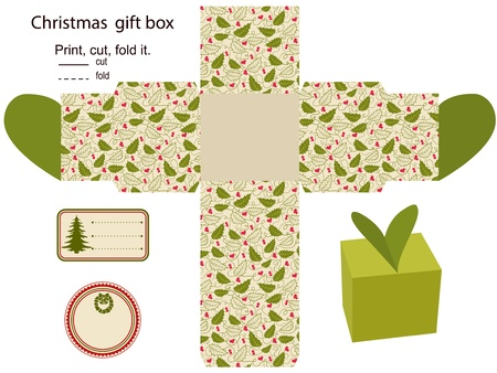diecut: Gift box  Isolated  Christmas pattern  Empty label  Template  Illustration