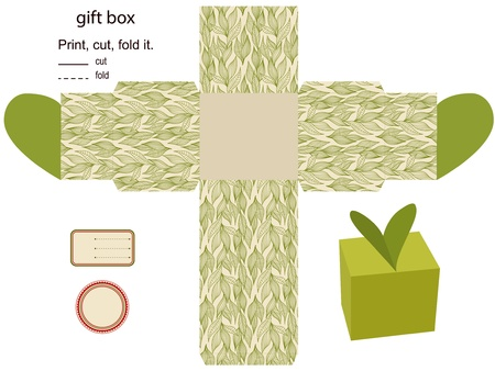 dieline: Gift box Isolated  Nature pattern  Empty label  Template