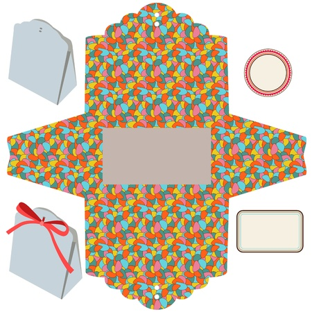 die cut: Gift box  Isolated  Waves pattern  Empty label  Template