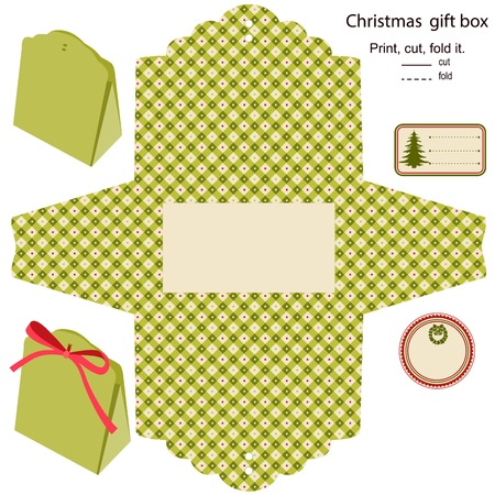die cut: Gift box  Isolated  Christmas pattern  Empty label  Template  Illustration