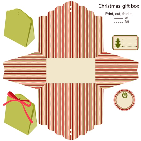 wedding favor: Gift box  Isolated  Christmas pattern  Empty label  Template  Illustration
