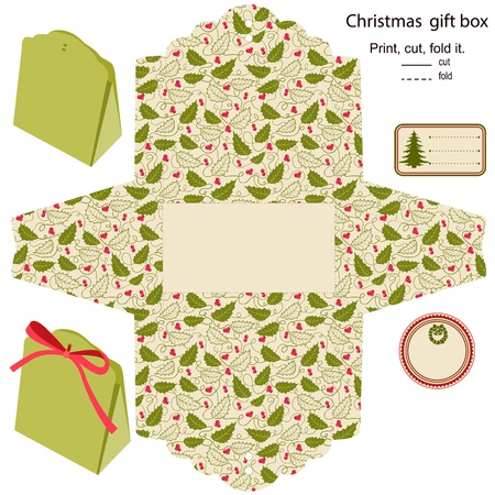 gift packaging: Gift box Isolated  Christmas pattern  Empty label  Template