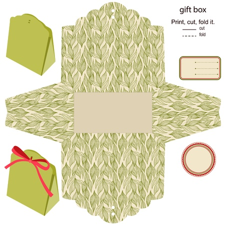 wedding favor: Gift box  Isolated  Nature pattern  Empty label  Template