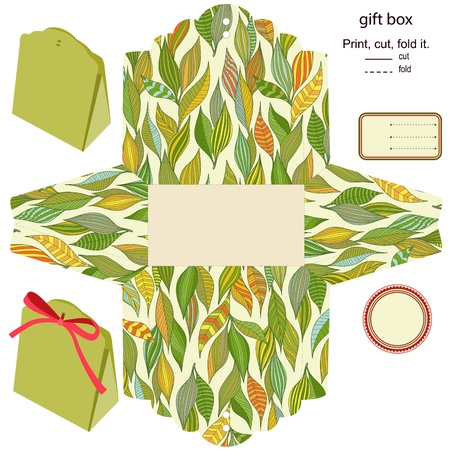 craft product: Gift box Isolated  Nature pattern  Empty label  Template