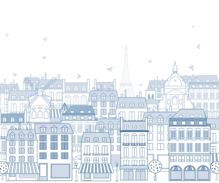 historic building: Paris cityscape with traditional buildings and famous architectures elements.