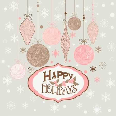 Christmas background with balls  and decorations. Vector