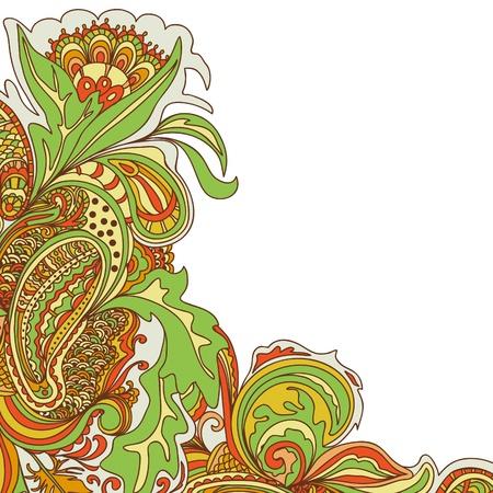 Doodle floral design. Design template. Abstract background.