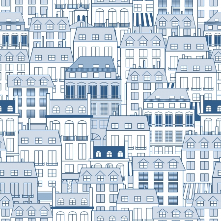 Seamless pattern with city buildings